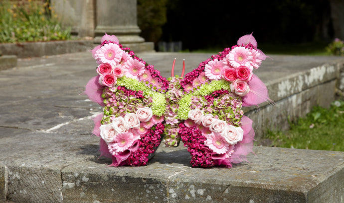Butterfly Funeral Tribute pink