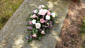 Funeral spray pink & green