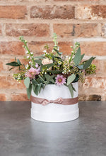 Load image into Gallery viewer, Rose hat box, stocks, eucalyptus
