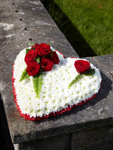 Red Rose Funeral Heart Tribute