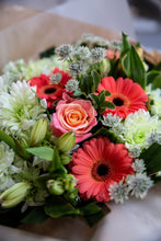 Load image into Gallery viewer, Coral rose and germini hand-tied bouquet