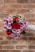 Load image into Gallery viewer, red rose, gypsophilia, chrysanthemum bouquet