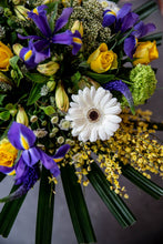 Load image into Gallery viewer, yellow rose, germini, iris bouquet