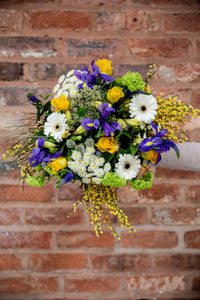 yellow rose, germini, iris bouquet