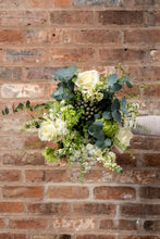 Load image into Gallery viewer, white rose, eucalyptus birthday bouquet
