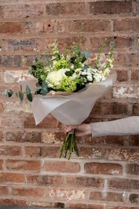 white rose, eucalyptus birthday bouquet