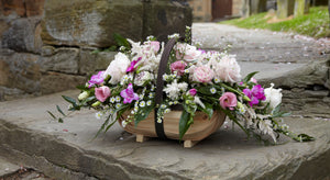 Pink & White flower basket