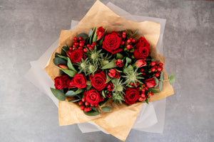 Red Rose, Red Tulip, Eucalyptus, Berry Bouquet