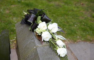 white rose funeral sheaf