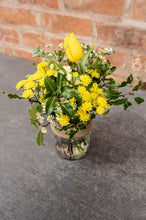 Load image into Gallery viewer, Yellow Tulips, Yellow tanacetum, yellow dainty chrysanthemums in a mason jar