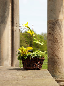 Yellow Oriental Funeral Flower Basket
