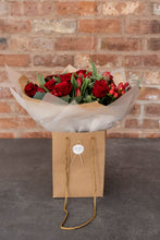 Load image into Gallery viewer, Red Rose, Red Tulip, Eucalyptus Bouquet