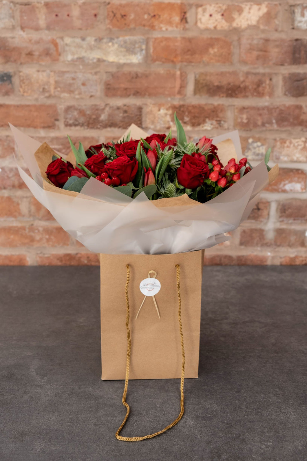 Red Rose, Red Tulip, Eucalyptus Bouquet