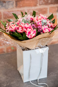 Spring tulip pink bouquet with eucalyptus