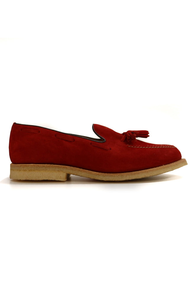 RED SUEDE TASSLE LOAFER