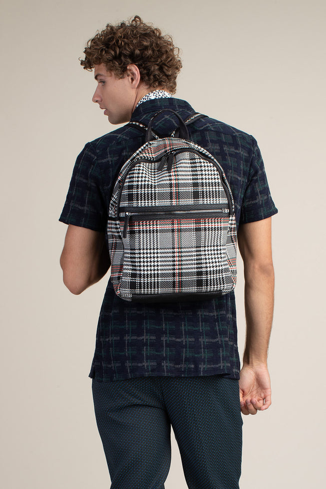 VICTORIA PEAK HOUNDSTOOTH PLAID BACKPACK