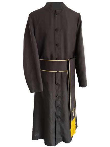 Black & Gold Clergy Band Cincture - Church Choirs