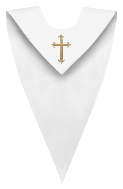 White V-Neck Choir Stole - Church Choirs