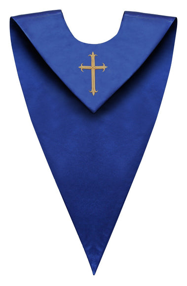 Royal Blue V-Neck Choir Stole - Church Choirs