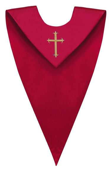 Red V-Neck Choir Stole - Church Choirs