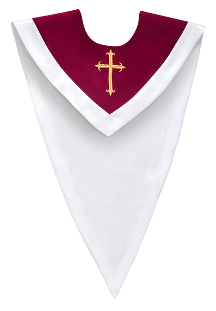 Maroon/White V-Neck Choir Stole - Church Choirs