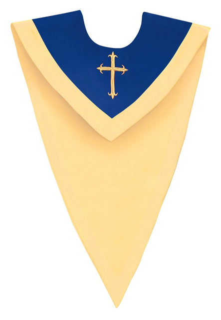 Royal Blue/Gold V-Neck Choir Stole - Church Choirs