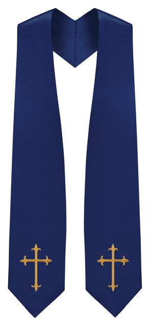 Navy Blue Traditional Choir Stole - Church Choirs