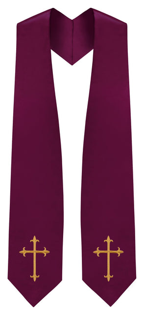 Maroon Traditional Choir Stole - Church Choirs