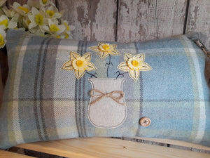 Rectangle Cushion with Daffodil Vase
