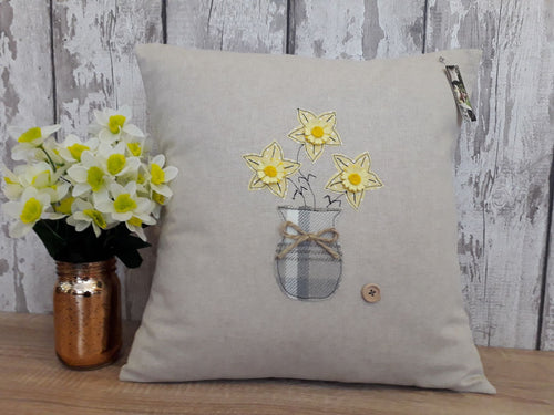 Square Cushion with Daffodil Vase
