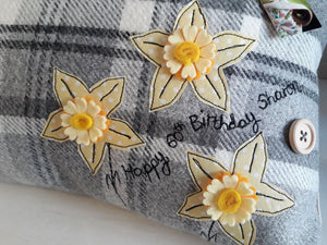 Personalised Welsh Collection Cushion STYLE 5 - Rectangle with Daffodils