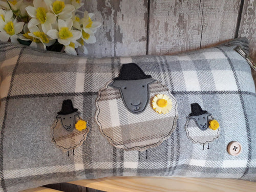 Rectangle Cushion with Large Welsh Sheep and Lambs (choose how many)
