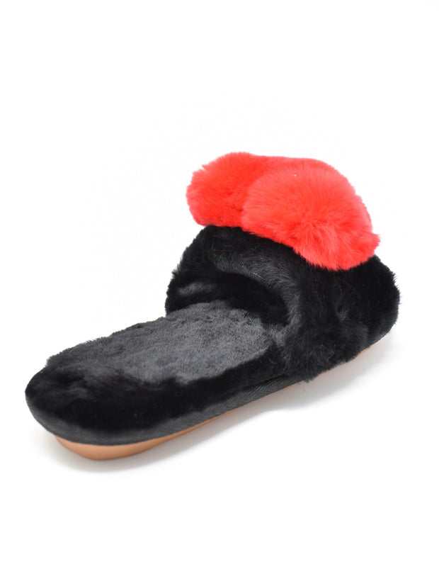 Fur Red Heart Slippers