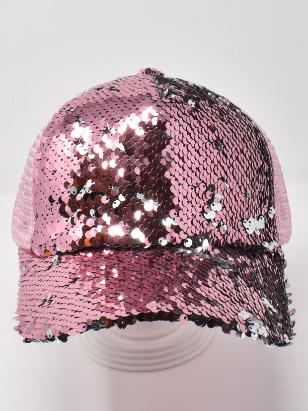Champagne Pink Sequin Cap