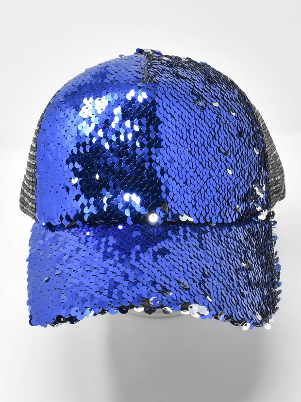 Ocean Blue Sequin Cap