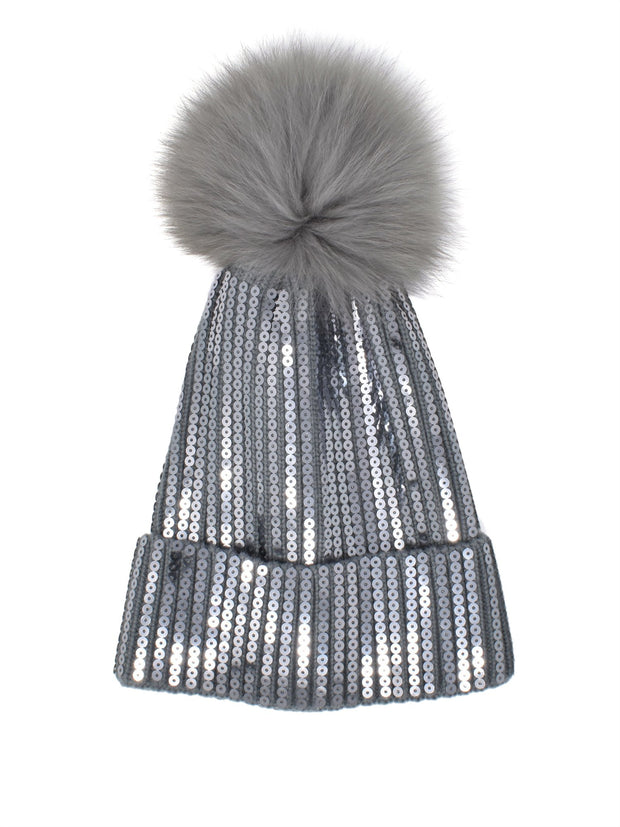 Silver Shuttle Sequin Single Pom