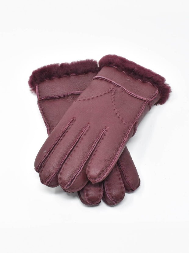 Ripe Plum Womens Shearling Gloves