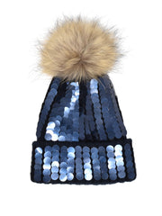Navy Dual Toned Sequin Single Pom