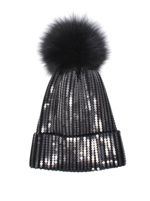 Jet Black Sequin Single Pom