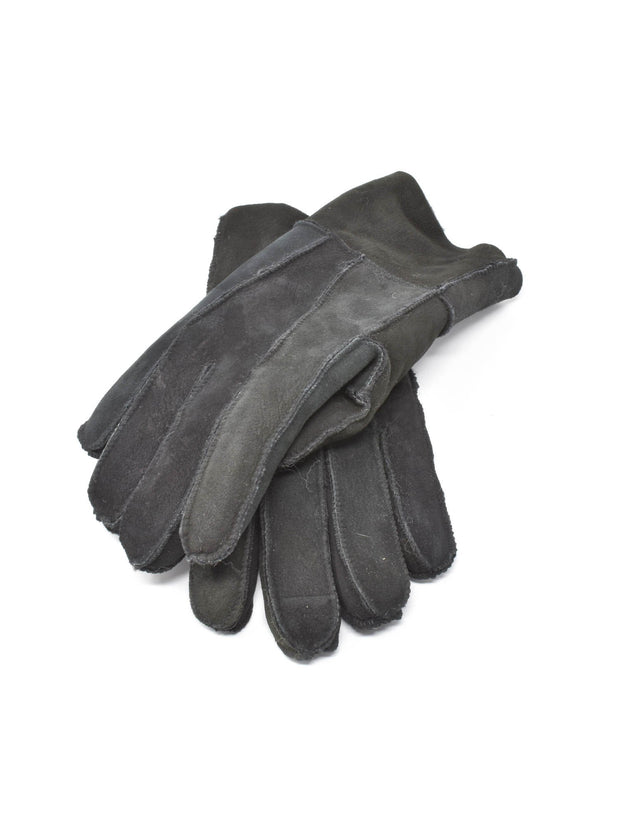 Charcoal Black Mens Shearling Gloves