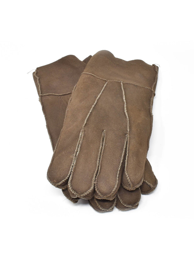 Earth Tone Brown Mens Shearling Gloves