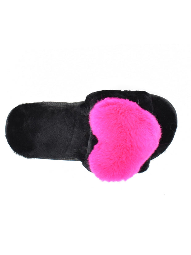 Fur Pink Heart Slippers