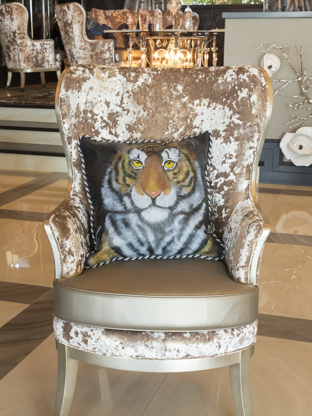 Tiger Leather Hand-Crafted Pillow
