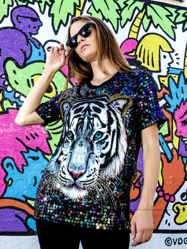 Rainbow Sequin Tiger Beaded Glow Shirt