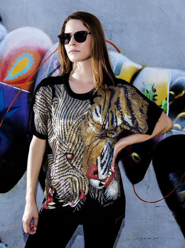 Big Cat Clash Beaded Glow Shirt