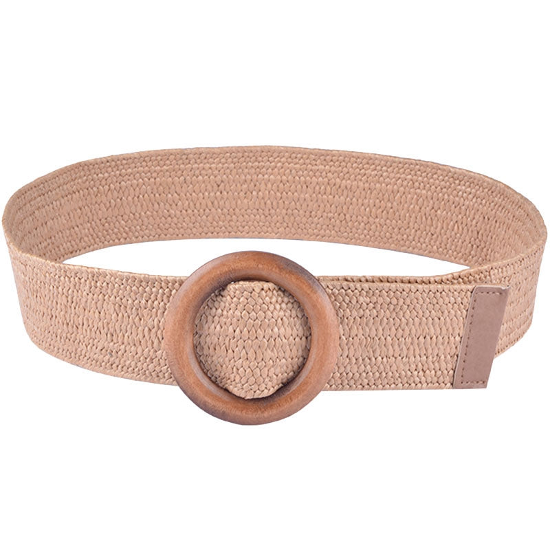 Braided Belt With Wooden Buckle Ladies Casual Solid Luxury Fashion Women Straw Belt Wood