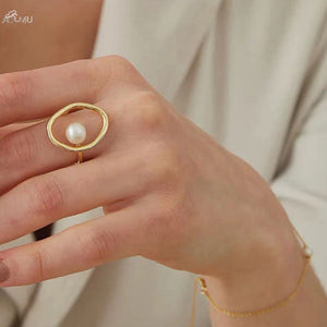 AOMU Fashion Girl Gift Metal Ring For Women Jewelry Geometric Round Ring Street Shoot Accessories Imitation Pearl Ring