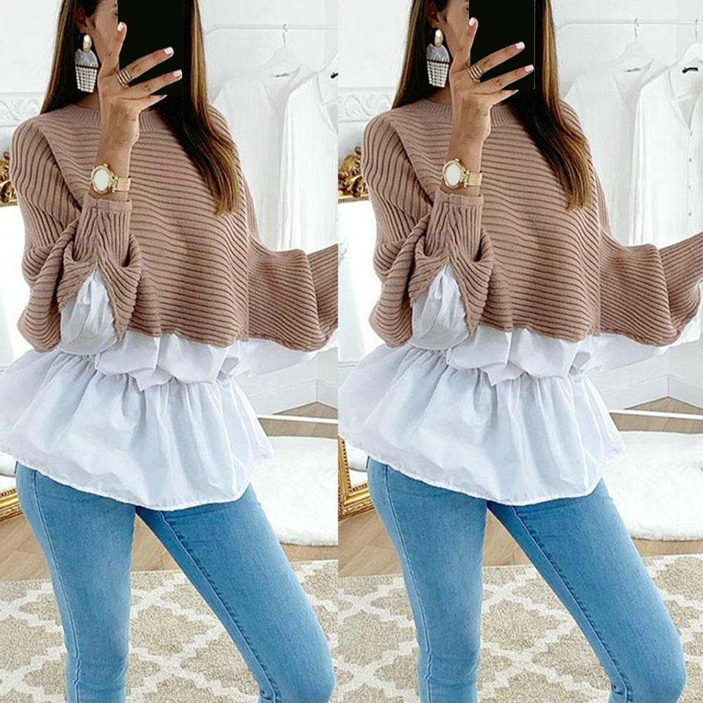Winter Clothes 2019 Women's Sweaters Ruffled Stitching Sleeve Round Neck Pullovers Long Sleeve Sweater