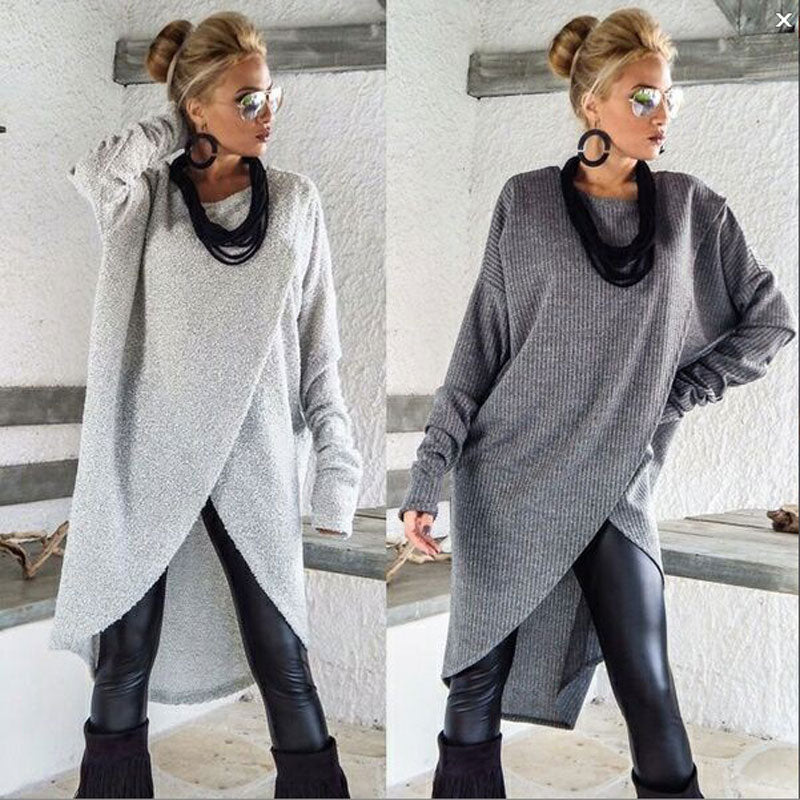 Women Long Sleeve Sweater Ladies Casual Loose Solid O-Neck Jumper Tops Winter Clothes Cotton