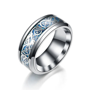11 colors Blue Black Silvering Irish Dragon Titanium Carbide Ring 8mm  Wedding Bands Couple Anniversary Jewelry G0170